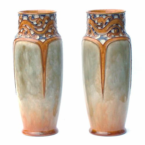Pair of Farncis C. Pope vases executed by Bessie Newbery