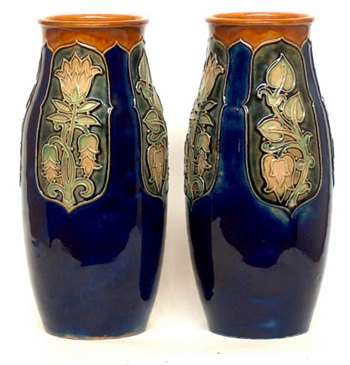 Pair of Doulton tubelined vases by Lily Partington