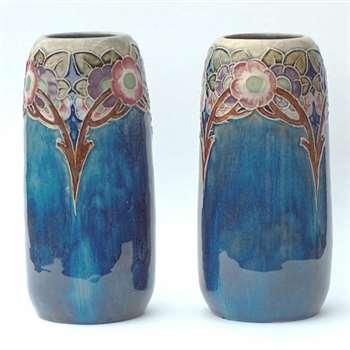 Pair of Doulton vases by Minnie Webb