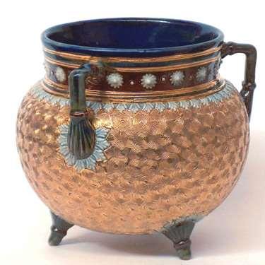 Doulton cauldron shaped vase by Ethel Beard
