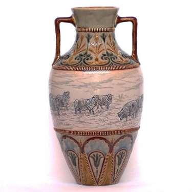 Doulton 2 handled vase with sheep by Hannah Barlow